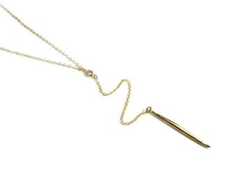 Long Y Gold Spike with CZ Necklace