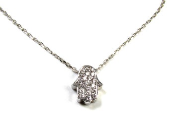 CZ Pave Tiny Hamsa Hand Necklace in Sterling Silver