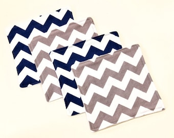 Chevron Baby Washcloths, Baby Wipes Party Favor Gift, Chevron Wash Cloths Gray & Navy Blue