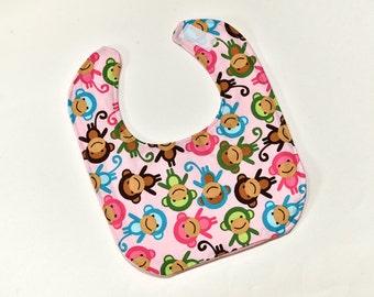 Baby Girl Bib Feeding Bib Baby Gift New Baby Cute Monkeys Infant Dribble or Nursing Reversible