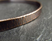 Bronze bangle with hammered bark texture, bronze wedding anniversary gifts for husband and wife, ladies and mens metalwork bracelet, 19th