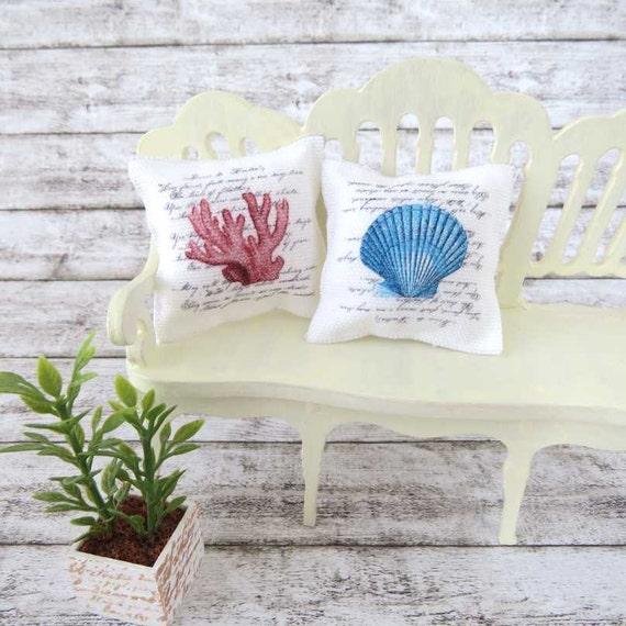 Dollhouse nautical cushions in 1 inch scale