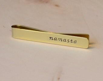Gold Tie bar , solid gold tie bar , namaste tie bar