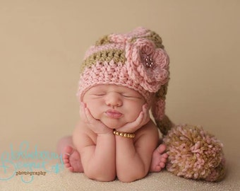 Baby Girl Elf Hat in Pink and Gold with Detachable Flower Accessory