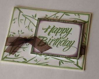 Stamped Happy Birthday Card, Birthday Greeting with Green Leaves and Brown Ribbon (BD1508)