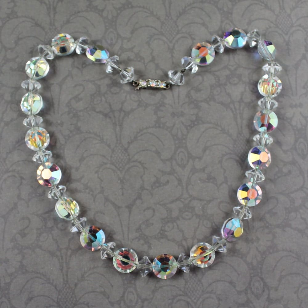 vintage clear ab finished beaded necklace