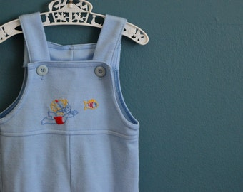 Vintage Light Blue Baby Romper with Swimming Baby Embroidery - Size 12 Months