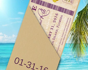 Boarding Pass Save the Date - Destination Wedding