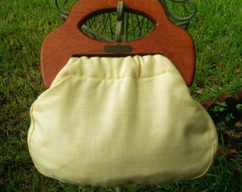 12 Clearance!...Yellow Banner House Purse with Wood Handle