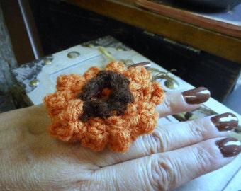 Fall Mum. Hand Crochete Hippie Chic Harvest Mum Flower & Oak Wood Boho Statement Ring Handflower Size 8