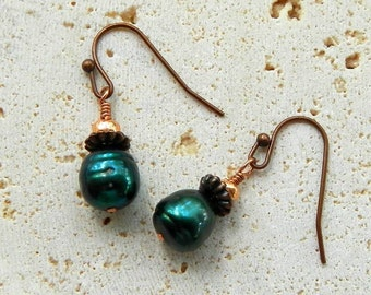 Freshwater Pearl Earrings of Emerald Green and Copper