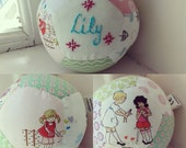 Personalised unique handsewn patchwork baby ball for baby girl christening gift toy rattle