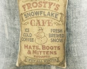 Frosty's Snowflake Cafe   Holiday decor   Snowman pillow   Country decor   Primitive tuck