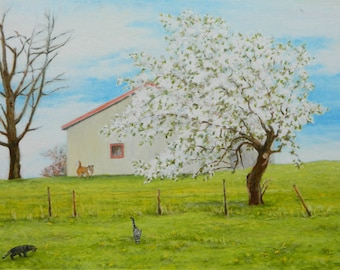 """Art Original Landscape Oil Painting Spring Apple Tree Blossom Flowers Dog And Cat Animal Quebec Canada Audet """" Towards the end of spring """""""