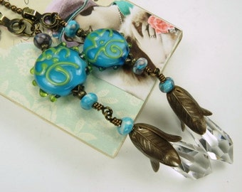 Decorative Chain Pull Pair for Ceiling Fans or Lamps with German Crystals and Turquoise lamp Work Bead Accents
