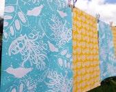 Birds and Leaves Screen Printed Tea Towel in Blue