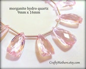 TAKE10 for 10% off! AAA Morganite Pink Quartz Faceted Pyramid Briolettes, (1) Matched Pair, 9mm x 16mm, bridal jewelry