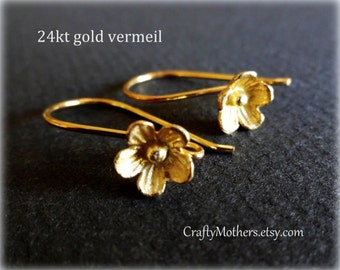 29% SALE! (Code: FROSTY) ONE Pair Bali 24kt Gold Vermeil Large Flower Ear Wires (2 pieces), 25mm x 15mm, artisan-made supplies