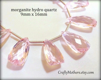 25% SALE! (Code: 25OFF25) AAA Morganite Pink Quartz Faceted Pyramid Briolettes, (1) Matched Pair, 9mm x 16mm, bridal jewelry