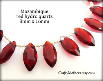 MOZAMBIQUE RED Hydro QUARTZ Faceted Marquise Cut Stone Briolettes, (1) Matched Pair, 8mm x 16mm, merlot wine red, jewelry supplies beads