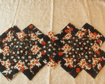 New Halloween Ghosts Bats Stars and Jack-O-Lanterns Quilted Table Runner Home Decor Table Cover