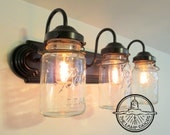 MASON JAR Wall Sconce Vintage Quart Trio Light Vanity Bathroom