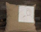 hand-embroidered linen down patch pillow: owl and snail by kata golda