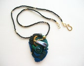 Choker Mixed Media Beaded and Embroidered Necklace AB Baroc Fresh Water Pearls and Soutache One of a Kind