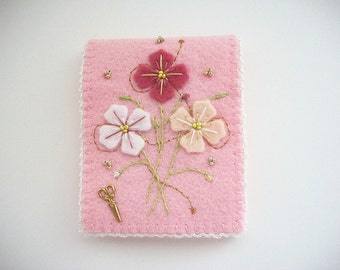 Needle Book Pink Felt Needle Keeper with Hand Embroidered Felt Flowers Brass Sciccors Charm and Crochet Edge Handsewn