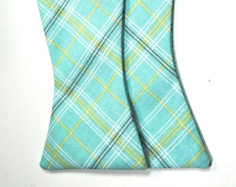 Blue Plaid Bow Tie Powder Blue Freestyle Bow Tie Custom Bow Ties Wedding Bow Ties Blue and Yellow Bow Tie