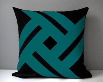Black & Teal Green Outdoor Pillow Cover, Modern Geometric, Decorative Pinwheel, Throw Pillow Case, Sea Green Sunbrella Cushion Cover