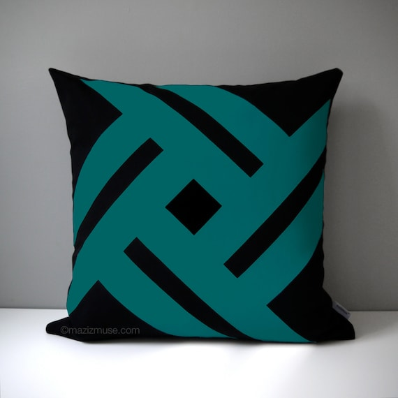 Modern Teal Decorative Throw Pillow : Black & Teal Green Outdoor Pillow Cover Modern Geometric