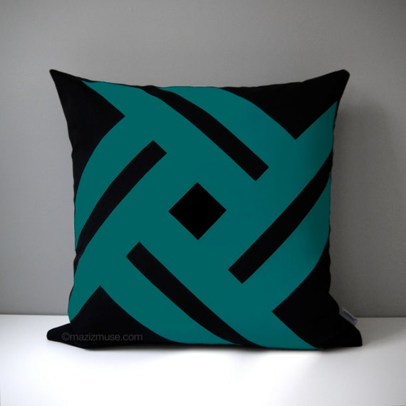 Modern Teal Decorative Throw Pillow : Black & Teal Green Outdoor Pillow Cover Modern Geometric