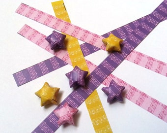 Lucky Stars Paper Strips - Musical Notes in Pink, Yellow & Purple