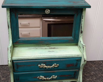 Shabby chic Teal and Mint Jewelry Box