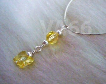 925 Silver Swarovski Crystal Necklace Wedding Butterfly Yellow Wire Wrapped Cols 14K Gold Bridal jewelry, bridesmaids, Bride, MOB, Custom