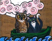 Original Mixed Media Painting  Collage Owl and Pussycat 4x4 OOAK SFA