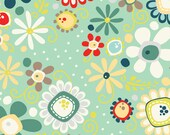 Nested Owls Aqua Mint Adorn It Fabric Collection Daisy Bouquet Floral Spin Flowers