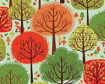 Forest Friends Andover Makower Fabric Multi Color Trees on Aqua Blue Sky