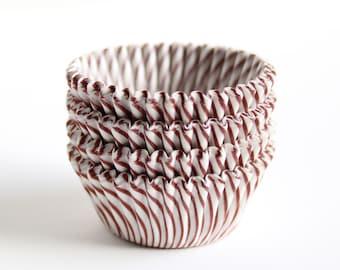 100 Mini Brown Striped Cupcake Liners