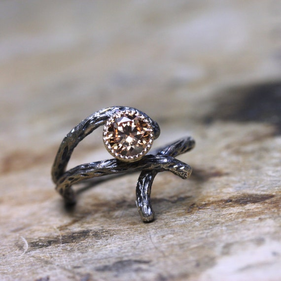 branch wedding ring silver 14k yellow gold branch cz engagement ring rustic 2055