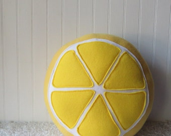 Lemon Plush, Lemon Slice Pillow, Citrus Pillow, Lemon Pillow