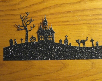 6 Halloween Hill Die Cuts: Black Glitter Haunted House Cemetary Stamping supplies Handmade card