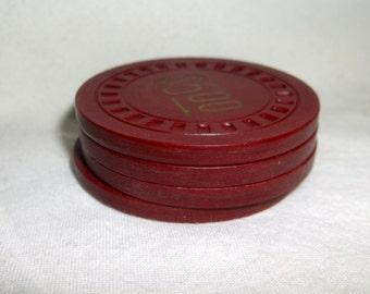 Vintage Agua Caliente Jockey Club Chips • lot of 4