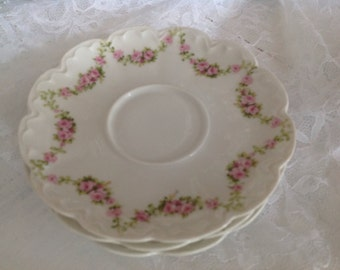Gorgeous Theodore Haviland Limoge France Saucers Pink Green Swags