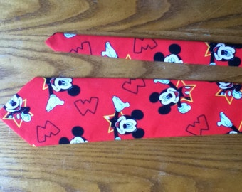 Men's Handmade Vintage Print Mickey Mouse Tie
