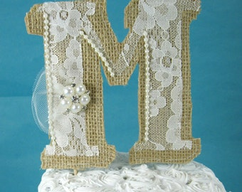 Burlap Monogram Cake Topper, Rustic Burlap Lace wedding topper, Burlap monogram M140- rustic wedding cake decoration