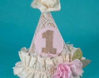 Shabby Chic burlap birthday party hat, pink H185, gold, burlap lace, first birthday photo prop