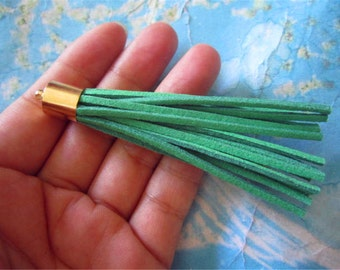 10pcs 80mm Bright Gold Metal Cap--Green Suede Leather Ear Tassel charms