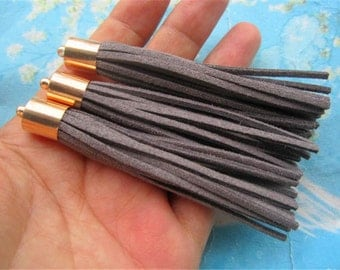 10pcs 80mm Bright Gold Metal Cap--dark grey Suede Leather Ear Tassel charms